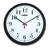 "+13-3/4"" Round Quartz Wall Clock, Black"