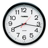 Wall Clock, 13-1/4&quot;, Arabic Numerals, White Dial/Black Frame