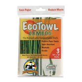 EcoTow Bamboo, 14&quot;x10&quot;, 3 per Pack, White/Brown/Green