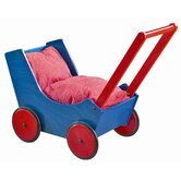Doll Pram In Red / Blue