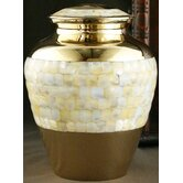 Mother of Pearl Gold Large / Adult Urn with Velvet Bag