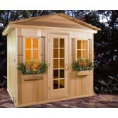 6' x 8' x 7' Outdoor Prebuilt Sauna with Shake Roof