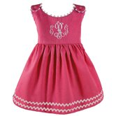Garden Princess Pique Dress in Hot Pink with White Trim