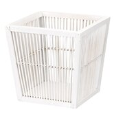 Fir/Bamboo Waste Basket in White