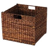 Banana Leaf Storage Bin in Stained Dark Brown