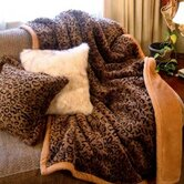 Leopard Faux Fur Throw Blanket and Pillow Set