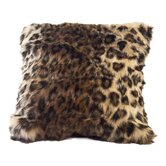 Ocelot Faux Fur Pillow Cover with Rich Black Faux Suede Back