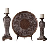 Candlesticks with Charger Plate (Set of 3)
