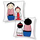 Japanese Dolls Reversible Pillow
