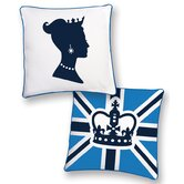 Princess Reversible Pillow in White and Blue