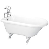60&quot; Roll Top Acrylic Clawfoot Bath Tub with Rim Holes