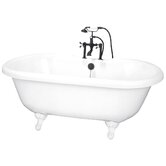 72&quot; Dual Acrylic Clawfoot Bath Tub with Rim Holes