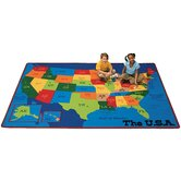 Geography Travelin' the USA Kids Rug