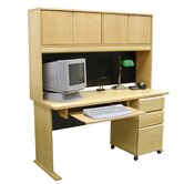 Modular Real Oak Wood Veneer 60&quot; W Panel Office Computer Desk Suite II