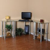 Clear Tempered Glass Corner Computer Desk with 2 20&quot; Modular Extensions