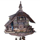 "22"" Dark Chalet 8-Day Movement Cuckoo Clock with Bell Tower"