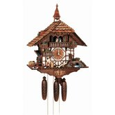 "23.5"" Black Forest Chalet with Moving Woodchopper, Water Wheel, Wood Saw and Ringing Bell"
