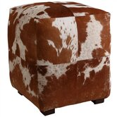 Otto Patchwork Leather Cube Ottoman
