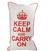 Keep Calm Pillow in Red on White