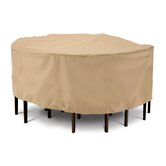 Terrazzo Collection Patio Table and Chair Set Cover in Tan, Large Round