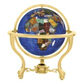 "13"" Commander Caribbean Globe with Three Leg Stand in Gold"