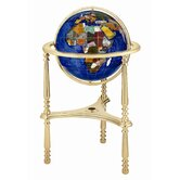 13&quot; Ambassador Caribbean Globe with Three Leg High Stand in Gold