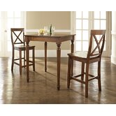 Three Piece Pub Dining Set with Turned Leg Table and X-Back Barstools in Classic Cherry