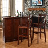 "Mobile Folding Bar in Vintage Mahogany with 30"" X-Back Stool in Mahogany"