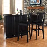 Mobile Folding Bar in Black with 30&quot; Shield Back Stool in Black