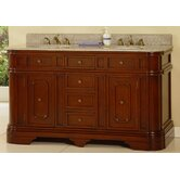 "60"" Double Bathroom Vanity in Royal Brown"