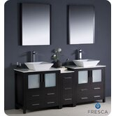 "Torino 72"" Modern Double Sink Bathroom Vanity with Side Cabinet and Vessel Sinks"