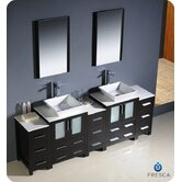 "Torino 84"" Modern Double Sink Bathroom Vanity with 3 Side Cabinets and Vessel Sinks"