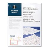 "Name Badge, Laser, 2-1/3""x3-3/8"", 400 per Pack, White/Red"