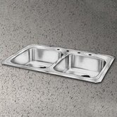 "Celebrity 33"" x 21.25"" Self Rimming Double Bowl Kitchen Sink Set"