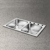 "Pacemaker Gourmet 33"" x 22"" Single Hole Double Bowl Sink Set"