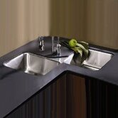 Lustertone Undermount Double Bowl Corner Sink with Optional Faucet and Cutting Board