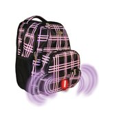 Built-in Alarm School Backpack in Lavender Plaid Pattern