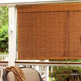 Imperial Matchstick Bamboo Roll-Up Blind with 6&quot; Valance in Fruitwood
