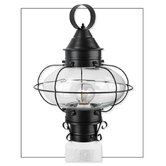 Cottage Onion One Light Outdoor Medium Post Mount Lantern in Black