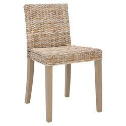 Charlotte Wicker Side Chair in Light Grey Wash (Set of 2)