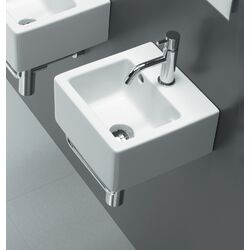 small square ceramic bathroom sink in white with optional towel bar