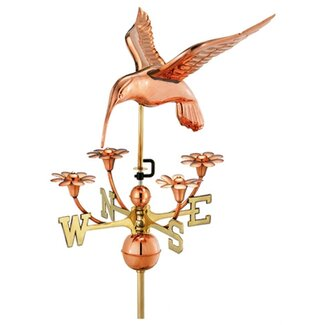 Good Directions Full Size Weathervane Hummingbird with Flowers in Polished