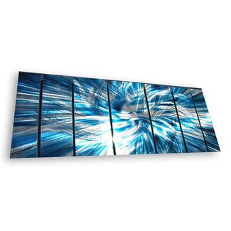 "All My Walls Abstract by Ash Carl Metal Wall Art in Turquoise and White - 23.5"" x 60"""