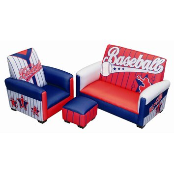 Kids seating wayfair Baseball sofa