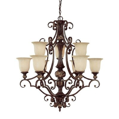 Capital Lighting Manchester 9 Light Chandelier with Scavo Glass