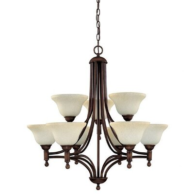 Capital Lighting Metropolitan 9 Light Chandelier with Mist Scavo Glass