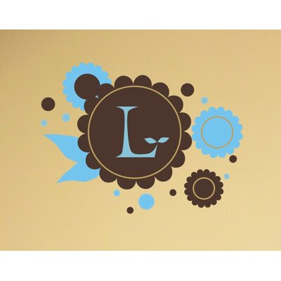 Alphabet Garden Designs Chocolate Flowers Monogram Wall Decal