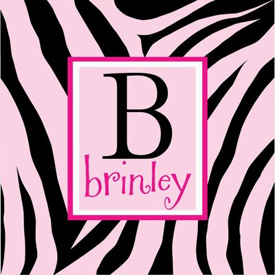 Alphabet Garden Designs Personalized Zebra Print Monogram Canvas Wall Art
