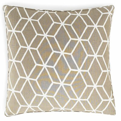 Jiti Pillows Bethe Tile Linen Square Pillow in Light Brown