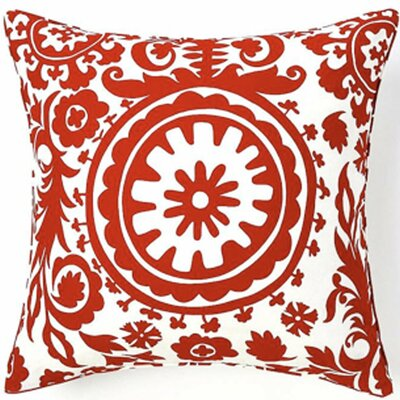 Jiti Pillows Siggi Suzani Cotton Square Pillow in Red/White